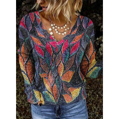 Print V-Neck Casual Knit Tops