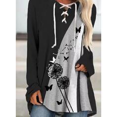Animal Print Dandelion V-Neck Long Sleeves Sweatshirt