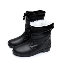 110831a37 ... De mujer PVC Tacón bajo Botas Botas longitud media Botas de lluvia con Cordones  zapatos