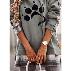 Animal Print Grid Long Sleeves Hoodie