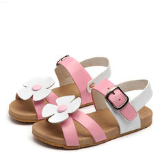 Girl's Peep Toe Leatherette Flat Heel Sandals Flats Flower Girl Shoes With Flower