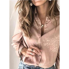 Print Floral Lapel Long Sleeves Button Up Casual Shirt Blouses
