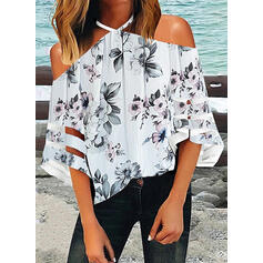 Print Floral Cold Shoulder 3/4 Sleeves Casual Blouses