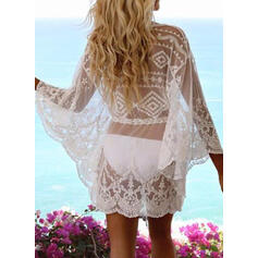 Solid Color Mesh V-Neck Fresh Cover-ups Swimsuits