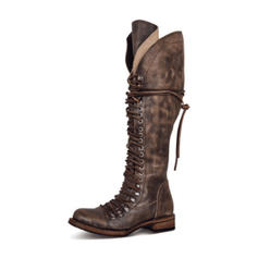 Жіночі ПУ Низький каблук Черевики вище колін з Блискавка Зашнурувати взуття