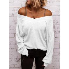 Solid Off the Shoulder Long Sleeves Casual Knit Blouses