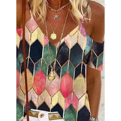 Geometryczny Zimne ramię Krótkie rękawy Nieformalny Bluzki