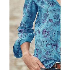 Stampa Floreale Risvolto Maniche lunghe Bottone Casuale Shirt and Blouses