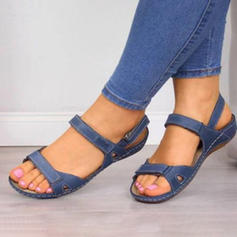 Dámské PU Placatý podpatek Sandály Boty Bez Podpatku S otevřenou špičkou S Přezka obuv