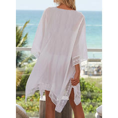 Solid Color V-neck Sexy Bohemian Cover-ups Swimsuits