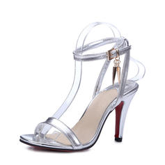 Women's Leatherette Stiletto Heel Peep Toe Pumps Sandals With Buckle