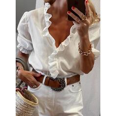 Jednolity Dekolt w kształcie litery V Krótkie rękawy Casual Elegancki Bluzki