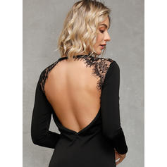 Lace/Solid/Backless Long Sleeves Bodycon Above Knee Little Black/Sexy/Party Dresses