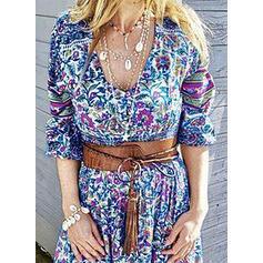 Impresión/Floral Mangas 1/2 Acampanado Casual Maxi Vestidos
