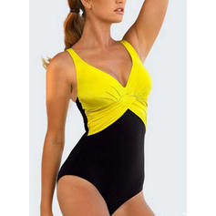 Splice color Neon V-Neck Fashionable Plus Size One-piece Swimsuits
