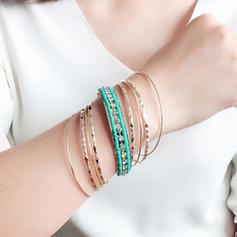 Schöne Modisch Exotisch Strasssteine Bügeleisen Frauen Armbänder (Set von 9)