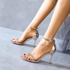 Mulheres Couro Brilhante Salto agulha Bombas Peep toe com Fivela Oca-out sapatos