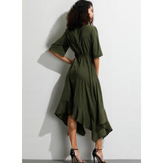 Solid 1/2 Sleeves A-line Midi Casual/Party Dresses
