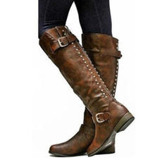 Women's PU Low Heel Knee High Boots With Rivet Buckle Zipper shoes
