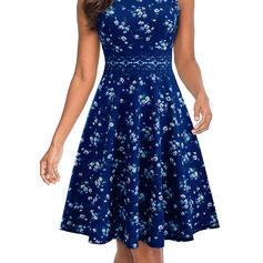 Print/Floral Sleeveless A-line Knee Length Casual Dresses