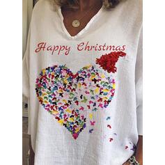Animal Print Figure V-Neck Long Sleeves Casual Christmas Blouses