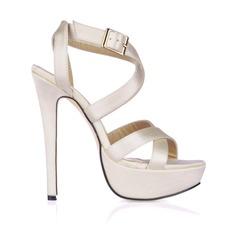 Mulheres como o cetim de seda Salto agulha Sandálias Sapatos abertos com Fivela