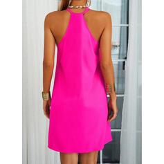 固体 ノースリーブ シフトドレス 膝上 カジュアル ドレス