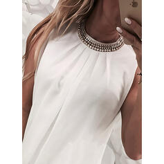 Solid Beaded Round Neck Sleeveless Casual Tank Tops