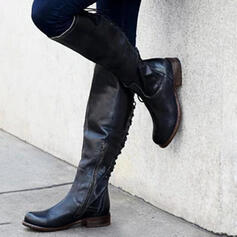 Naisten PU Matala heel Kengät Knee saappaat jossa Nauhakenkä kengät