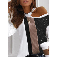 Print Color Block One-Shoulder Long Sleeves Casual Blouses