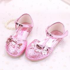 A menina de Glitter espumante Heel plana Toe rodada Sem salto com Bowknot Velcro