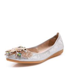 Women's PU Flat Heel Flats Closed Toe With Rhinestone shoes