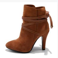 Femmes Suède Talon stiletto Escarpins Bottes avec Dentelle chaussures