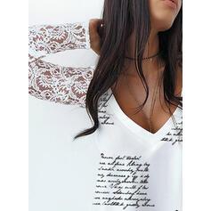 Drucken Spitze Figur V-Ausschnitt Lange Ärmel Elegant Blusen