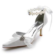 Frauen Satin Spule Absatz Geschlossene Zehe Absatzschuhe mit Nachahmungen von Perlen Strass Satin Schnürsenkel