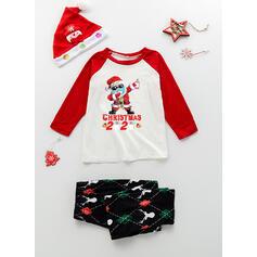 Σάντα Καρό ύφασμα Επιστολή Οικογένεια Εμφάνιση Χριστουγεννιάτικες πιτζάμες
