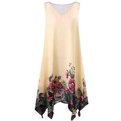 Print/Floral Sleeveless Shift Knee Length Casual/Elegant Dresses