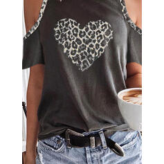 Print Leopard Heart Cold Shoulder Short Sleeves Casual Blouses