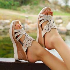 Femmes PU Talon compensé Sandales À bout ouvert Chaussons avec Strass chaussures