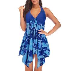 Tropical Print Halter Cute Swimdresses Swimsuits