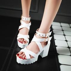 Femmes Similicuir Talon bottier Sandales Escarpins Plateforme avec Rivet chaussures