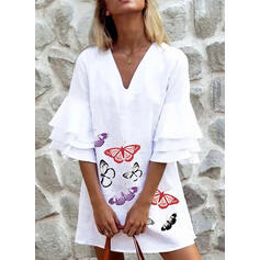 Print Flare Sleeves Shift Above Knee Casual Dresses