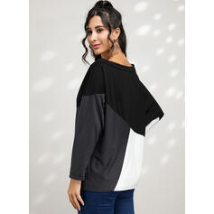 Kleurblok One Shoulder Lange Mouwen Casual T-shirts
