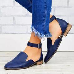 Mulheres PU Salto robusto Sem salto Toe rodada com Fivela sapatos