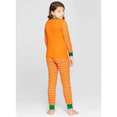 Striped Cartoon Print Family Matching Christmas Pajamas