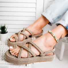 Femmes PU Talon plat Sandales Chaussures plates À bout ouvert avec Ouvertes chaussures