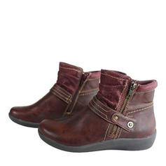Women's PU Flat Heel Ankle Boots With Buckle Zipper shoes