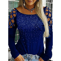 Sequins Cold Shoulder Long Sleeves Casual Sexy Blouses
