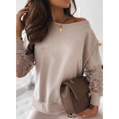 Solid Lace Round Neck Long Sleeves Casual Blouses