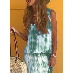 Impresión Sin mangas Cubierta Casual/Vacaciones Midi Vestidos